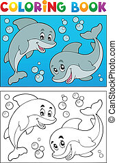 Coloring book with marine animals 7 - vector illustration.