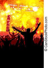 Dancing people - Festival. Crowd of dancing people