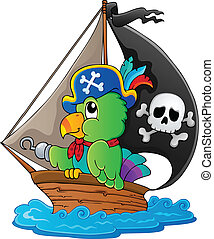 Image with pirate parrot theme 1 - vector illustration