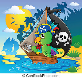 Image with pirate parrot theme 2 - vector illustration