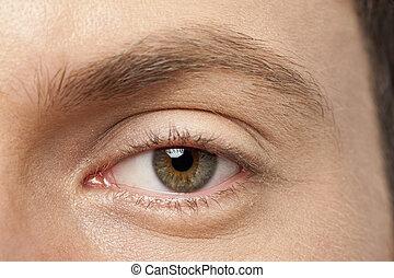 male eye close up