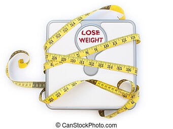 Weighing scales - Yellow tape measure wrapped around a...