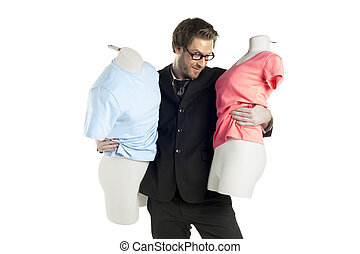 male fashion designer with mannequin - Portrait of male...
