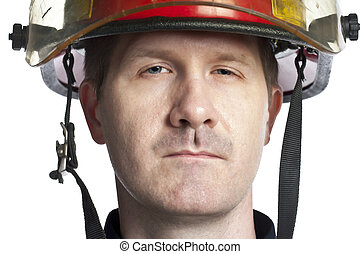 male fire fighter - Close up portrait of male fire fighter...