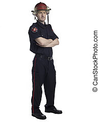 male fire fighter with arm crossed - Portrait of a male fire...
