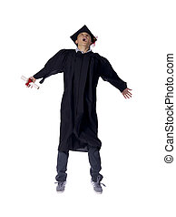 male graduate jumping - Full length portrait of male...