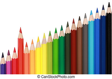 Colored pencils forming a rising chart - Colored pencils in...