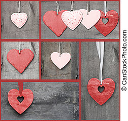 Compilation collage of various Valentine's Day hearts -...