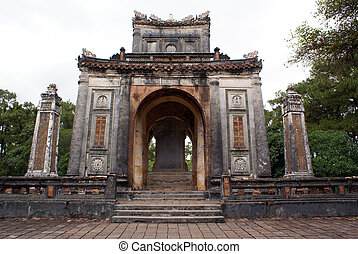 Temple on the ground of Tu Duc tomb complex in Hue, Vietnam...