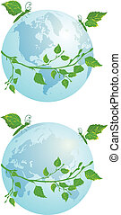 butterflies and globe - set of vector illustration of the...