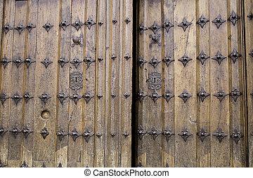 Open door - Old wooden door open, historical construction
