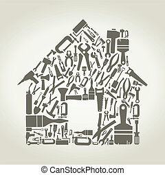 Tool the house - The house made of the tool. A vector...