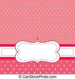 Red vector invitation card - Red background with polka dots...