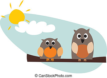 Funny, staring owls vector icon