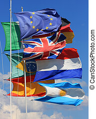 World peace - The national flags of France, UK, italy, Spain...