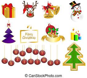 Christmas background icon set