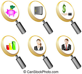 Finance and Banking magnifying glass icons set vector...