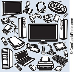 Electronics and computers equipment icon set
