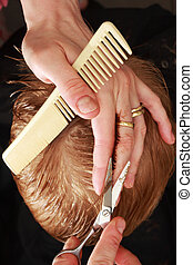 professional haircut - A professional hairdresser cutting a...
