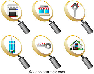 Real Estate icons magnifying glass