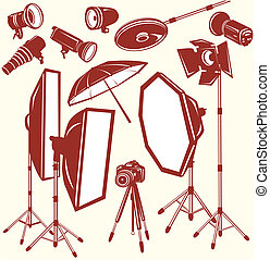 Set of photo studio equipment