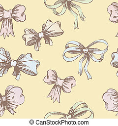 Vintage hand-drown bow pattern - Vector illustration of...