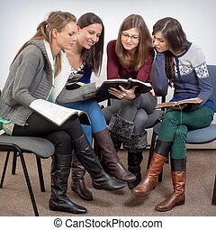 Spiritual fellowship - Young woman teacher teach God's Words...