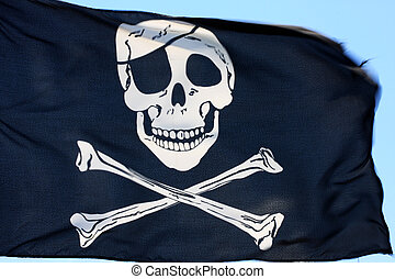 pirate flag - black pirate flag fluttering in the wind,...