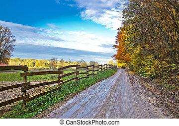 Autumn colorful mountain dirt road, Kalnik, Croatia