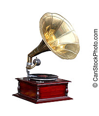 Vintage gramophone with vinyl record isolated with clipping...