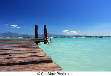 perfect beach - a small jetty in lake Garda Italy, fantastic...