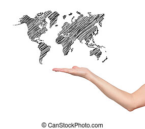 hand and world map on white background