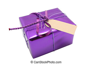purple present - A wrapped present with blank label on it,...