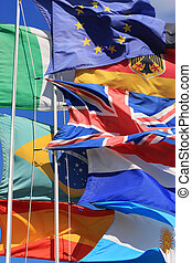 Global economics - The flags of United Kingdom, France,...
