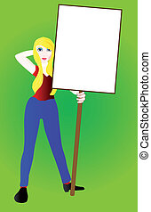 Sign Girl - A girl holding a white sign against a green...