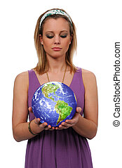 Young Woman Holding Earth - Beautiful young woman looking...