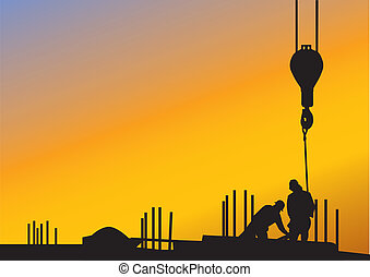 construction workers at sunset - The sunset background with...