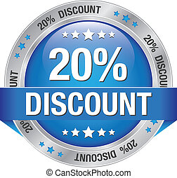 20 discount blue silver button isolated background