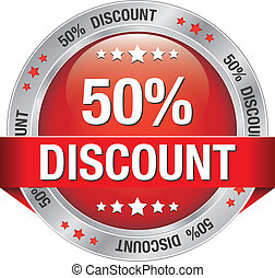 50 discount red silver button isolated background