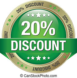 20 discount green gold button isolated background