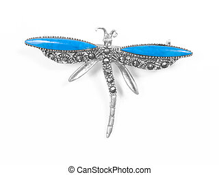 dragonfly pendant on white isolated background