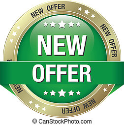 new offer green gold button isolated background
