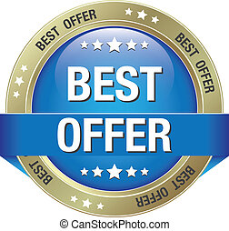 best offer blue gold button isolated background