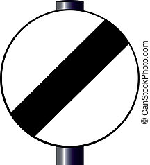 Derestriction Sign - A large round black and white traffic...
