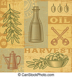 Vintage olive harvest background in woodcut style. Vector...