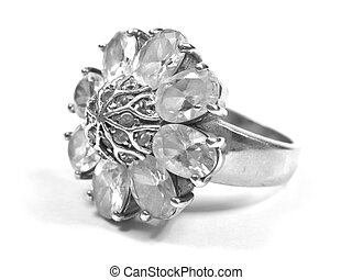 zirconium ring profile big ring on white isolated background...