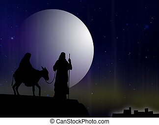 Mary and Joseph to Bethlehem in the light of the moon