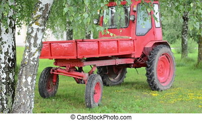 retro tractor birch tree - Retro old red tractor stand near...