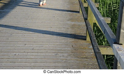 female foot bridge people - Girl barefoot with shoes walk...