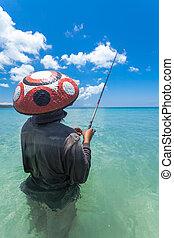 línea, pescadores